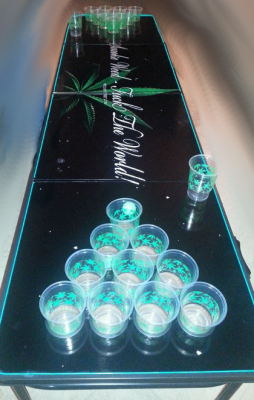 Beer Pong Table With Cannabis Symbols